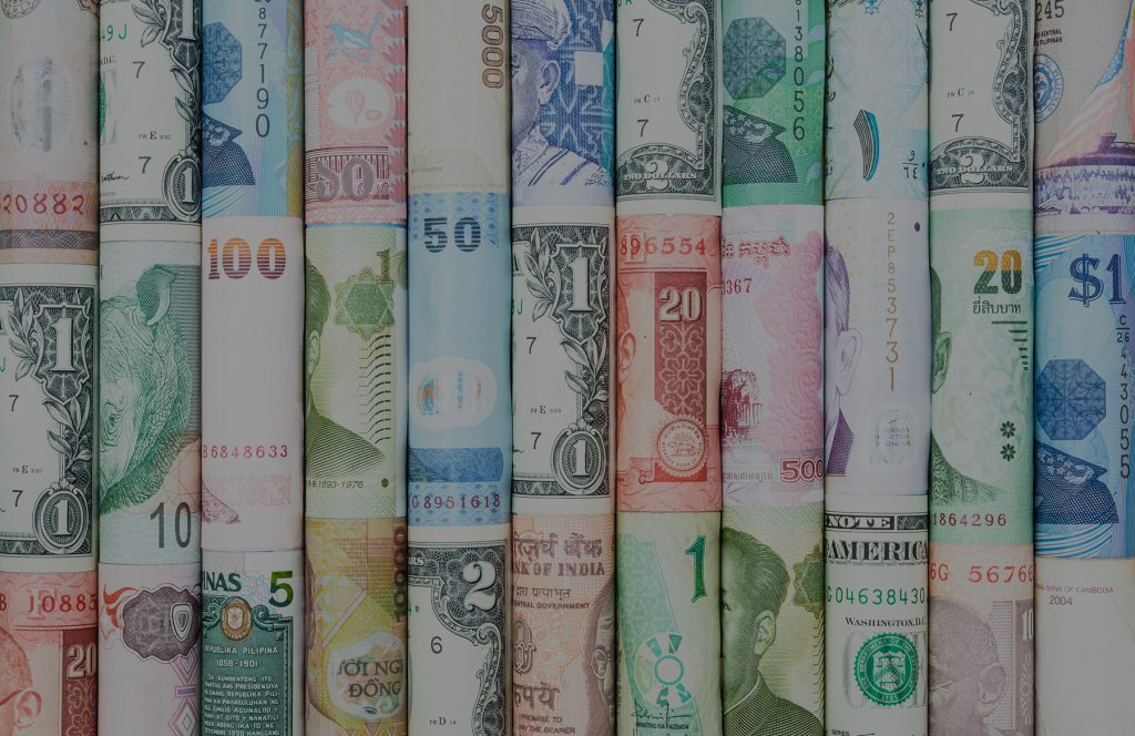 Rolls of currency from various countries