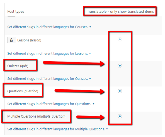 The radio buttons labeled as quizzes, questions, and multiple questions enabled in the WPML section of WordPress.