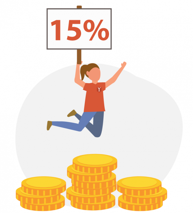 15% New Client Discount: Person jumping into the air above three coin stacks holding a sign that says 15%.