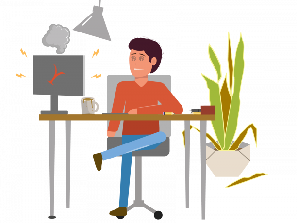 Man sitting at desk disheveled with his computer smoking and his coffee spilled on his desk.