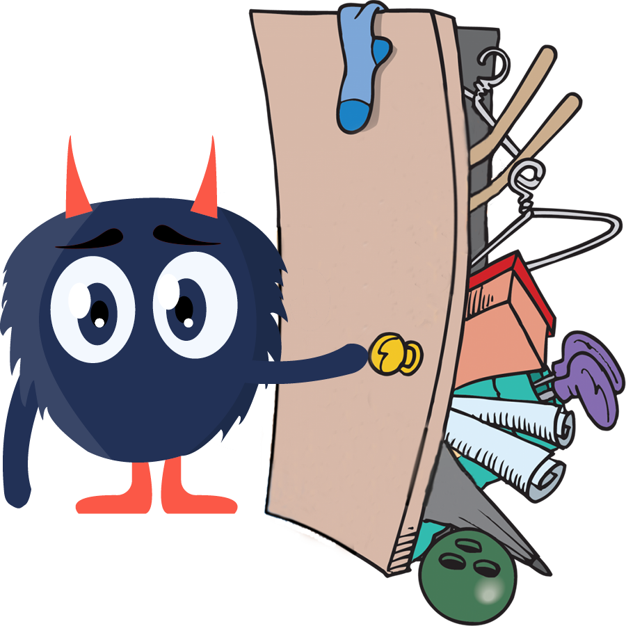 Monster trying to close overfilled closet