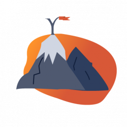 Glyph Language Services value icon: mountain with a glyph flag.